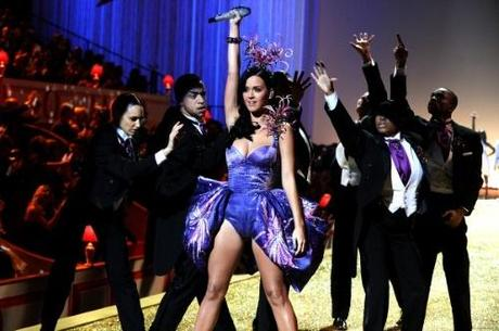 NEW YORK - NOVEMBER 10: Singer Katy Perry performs during the 2010 Victoria's Secret Fashion Show at the Lexington Avenue Armory on November 10, 2010 in New York City. (Photo by Theo Wargo/Getty Images)