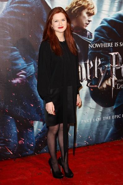 LONDON, ENGLAND - NOVEMBER 11: (UK TABLOID NEWSPAPERS OUT) Bonnie Wright attends the World Premiere of Harry Potter And The Deathly Hallows: Part 1 held at The Odeon Leicester Square on November 11, 2010 in London, England. (Photo by Dave Hogan/Getty Images)