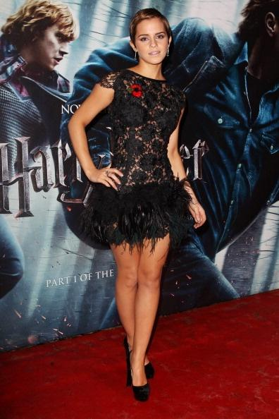 LONDON, ENGLAND - NOVEMBER 11: (UK TABLOID NEWSPAPERS OUT) Emma Watson attends the World Premiere of Harry Potter And The Deathly Hallows: Part 1 held at The Odeon Leicester Square on November 11, 2010 in London, England. (Photo by Dave Hogan/Getty Images)