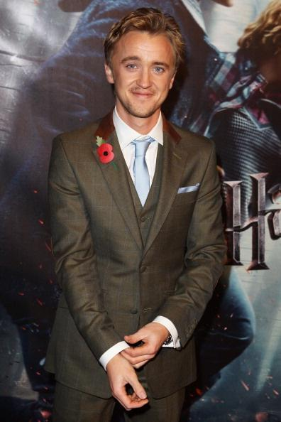 LONDON, ENGLAND - NOVEMBER 11: (UK TABLOID NEWSPAPERS OUT) Tom Felton attends the World Premiere of Harry Potter And The Deathly Hallows: Part 1 held at The Odeon Leicester Square on November 11, 2010 in London, England. (Photo by Dave Hogan/Getty Images)