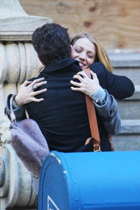 46909, NEW YORK, NEW YORK - Monday November 1, 2010. Blake Lively gives Penn Badgley, 'Gossip Girl' co-star and now ex-boyfriend, a hug in between takes and on his 24th birthday! Photograph:  Wagner Az, PacificCoastNews.com