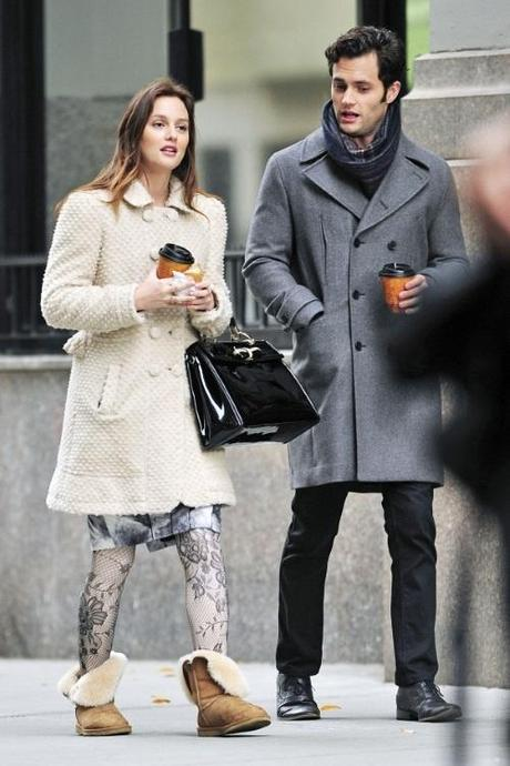 47542, NEW YORK, NEW YORK - Tuesday November 16, 2010. Leighton Meester and Penn Badgley film Gossip Girl in Union Square together. Badgley, who recently celebrated his 24th birthday, stays warm in a double breasted grey coat and scarf while Meester opted for lace stockings and an ivory coat. Photograph: PacificCoastNews.com