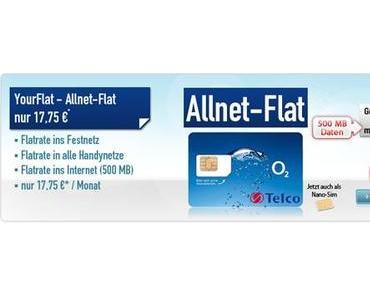 Allnet Flat für 17,75 € monatlich im o2 Netz! (DEAL)