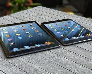 Größenvergleich von iPad 5, iPad 4, iPad mini und iPhone 5