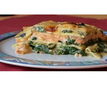 Lachslasagne mit Gorgonzola - Bechamel