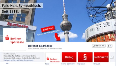Screenshot der Facebook Page der  Berliner Sparkasse