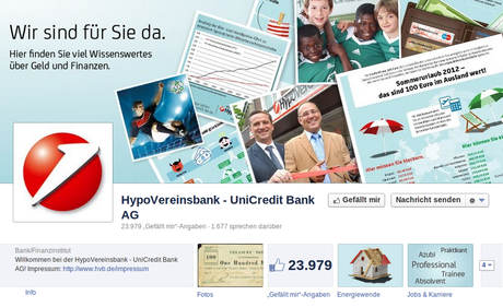 Hypovereinsbank / Unicredit Facebookseite Bildschirmfoto