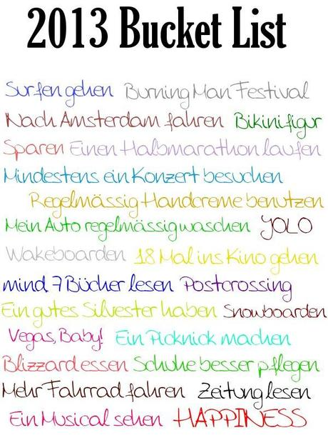 My 2013 Bucket List
