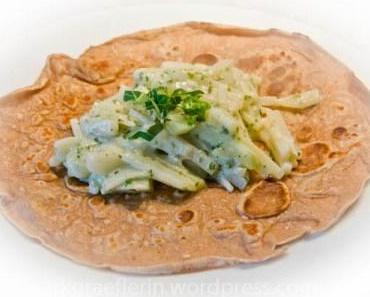 Traubenkern-Pfannkuchen mit Kohlrabigemüse und ein bisschen Wellness