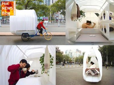 das kleinste mobilheim der welt passt auf ein fahrrad. Black Bedroom Furniture Sets. Home Design Ideas