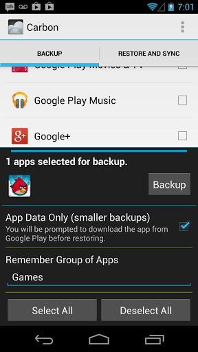 Carbon – App Sync and Backup OHNE Root