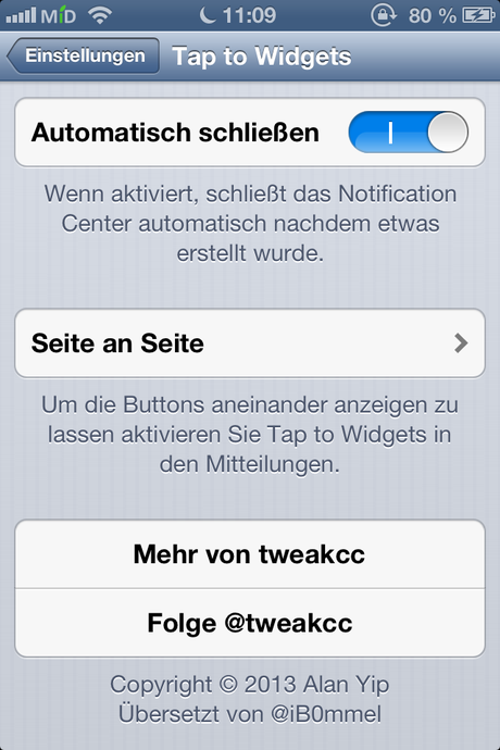 Tap to Widgets Einstellungen 2