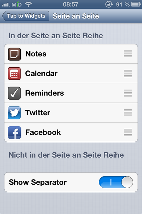 Tap to Widgets Einstellungen 1
