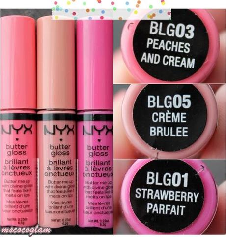 NYX Butter Glosses 'Peaches and Cream', 'Crème Brulee' & 'Strawberry Parfait' *Review*