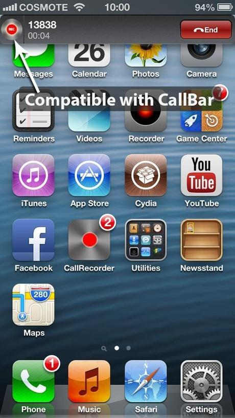 Call Recorder mit Call Bar