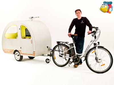 der kleinste wohnwagen der welt f r fahrrad und mehr. Black Bedroom Furniture Sets. Home Design Ideas