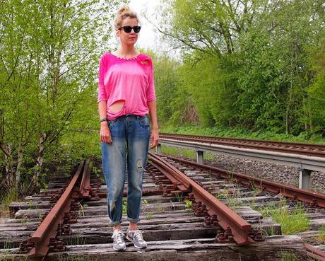 DIY ombre' studded cutted Shirt