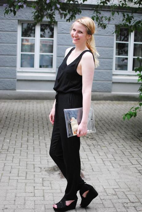 OUTFIT...black Jumpsuit & transparent Clutch
