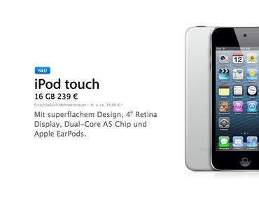 Apple veröffentlicht billigen iPod touch 5G ohne Kamera mit 16GB Speicher