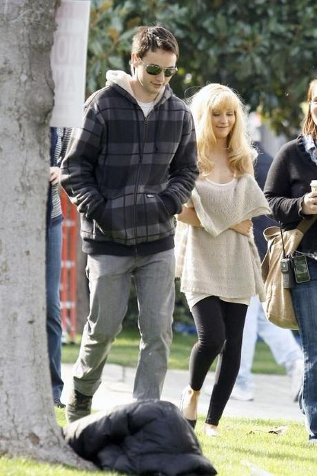 47289, LOS ANGELES, CALIFORNIA - Wednesday November 10, 2010. FILE PHOTO dated Monday February 1, 2010. It is rumored that Christina Aguilera is allegedly dating Matthew Rutler, a PA who worked with Aguilera on the set of Burlesque . The pair have been spotted out on the town together multiple times, first on Halloween night and again last week when Rutler tried to hide his face while leaving the Soho House. Aguilera filed for divorce from Jordan Bratman on October 14th after being married for five years.  Christina Agulera and Stanley Tucci on the set of Burlesque in LA. Aguilera is seen holding her coffee and script, sporting a blonde look and a long knit beige sweater. Photograph: Nathanael Jones/Pedro Andrade,  PacificCoastNews.com