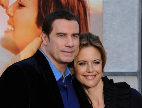 Kelly Preston , a cast member in the motion picture drama The Last Song , attends the premiere of the film with her husband, actor John Travolta at the Arclight Cinerama Dome in Los Angeles on March 25, 2010.  UPI/Jim Ruymen Photo via Newscom
