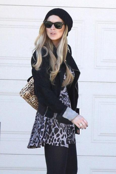 47843, LOS ANGELES, CALIFORNIA - Wednesday November 24, 2010. Lindsay Lohan, wearing an animal print dress, black blazer, knit hat and cowboy boots, heads off to the Betty Ford Clinic for treatment. Dina Lohan is reportedly trying to get permission for her daughter Lindsay to spend Thanksgiving in New York with her family. Photograph:  David Tonnessen, PacificCoastNews.com
