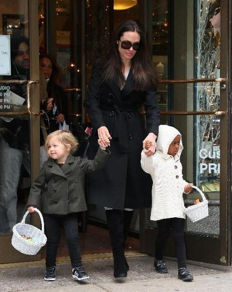 28295, NEW YORK, NEW YORK - Wednesday, February 18, 2009. Actress Angelina Jolie and her daughters Zahara, 4, and Shiloh, 2 1/2 spend mother daughter shopping time at Lee's Art Shop NYC on Wednesday morning. Photograph: PacificCoastNews.com****** UK OFFICE: 131 557 7760/7761/7762 US OFFICE: 1 310 261 9676