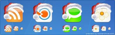 Icons in 10 weihnachtliche Social Media Icon Sets