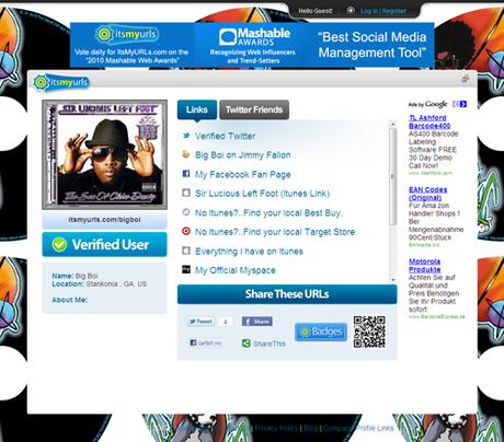 ItsMyURLs in Erstelle deine Online Visitenkarte
