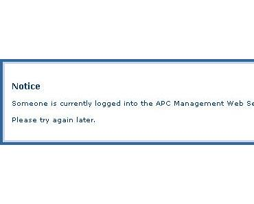 Someone is currently logged into the APC Management Web Server.