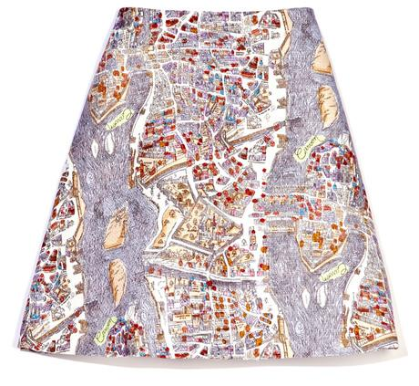 Carven Paris-Map Skirt