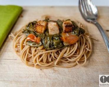 Spaghetti mit Mangold und Lachs