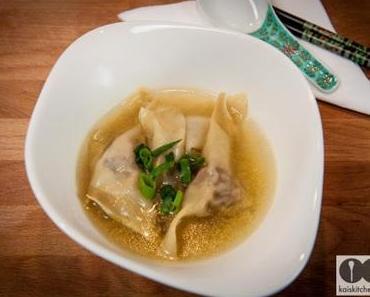 Schnelle Wan Tan Suppe mit Garnelen und Hackfleisch