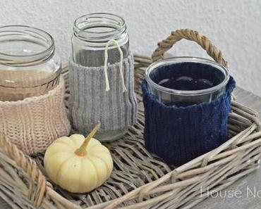 Windlichter im Wollmantel - DIY - wool lantern