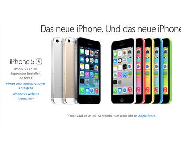 iPhone 5S und iPhone 5C: Preise und Verfügbarkeit (ab 20. September 01:01 Uhr)