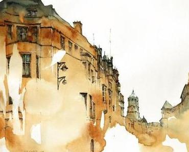 Zeichnungen europäischer Stadtbilder von Sunga Park