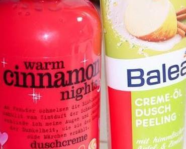 Winterliche Duschtipps: Treaclemoon Warm Cinnamon Nights & Balea Creme-Öl Dusch Peeling Apfel-Zimt