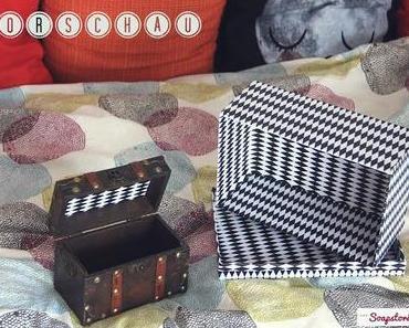DIY: Boxen mit Rauten verschönern. Feinmotorik für Geist und Körper.