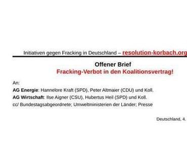Offener Brief der Initiativen: Fracking Verbot in den Koalitionsvertrag!
