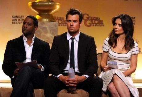 BEVERLY HILLS, CA - DECEMBER 14: Actors Blair Underwood, Josh Duhamel and Katie Holmes onstage during the 68th Annual Golden Globe Awards nomination announcement held at the Beverly Hilton Hotel on December 14, 2010 in Beverly Hills, California. (Photo by Kevin Winter/Getty Images)