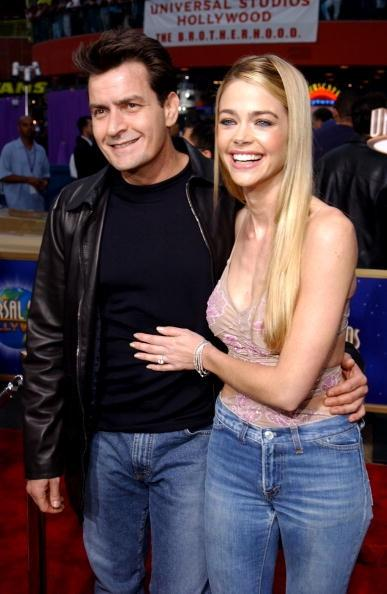 405969 31: Actor Charlie Sheen (L) and girlfriend/actress Denise Richards (R) attend the world premiere screening of Universal Pictures'' 'Undercover Brother' at Loews Cineplex Universal Studios Cinema May 30, 2002 in Universal City, CA. (Photo by Robert Mora/Getty Images)