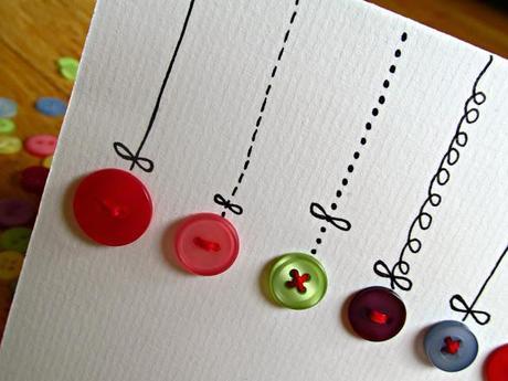 Weihnachtskarten Mit Knöpfen.Diy Knopf Weihnachtskarte