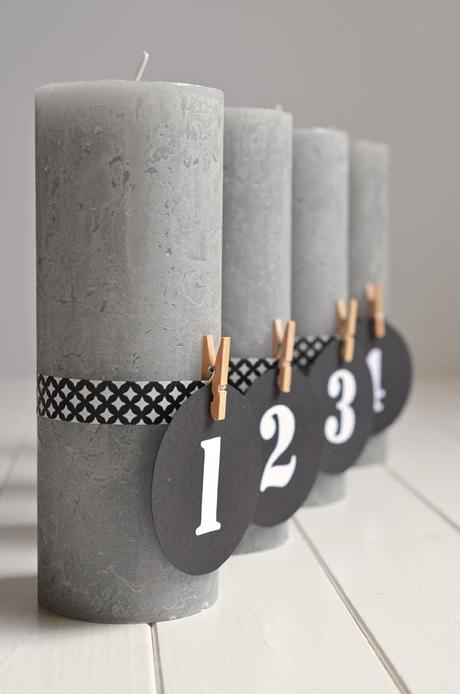 DIY für puristische Adventskerzen mit Zahlen (und ohne Tannengrün!)