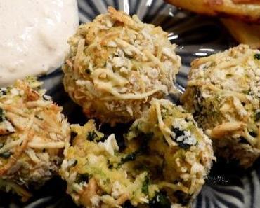 Süßkartoffelbällchen mit Spinat und Ziegenkäse