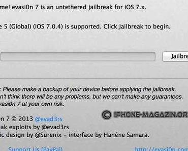Jailbreak von iOS 7.0 – 7.0.4 mit evasi0n7 auf iPhone 5S, iPad Air (Anleitung)