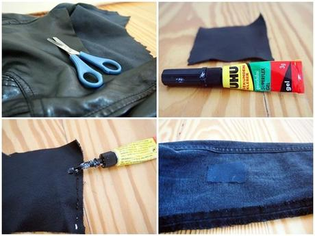 denim leather patchwork DIY