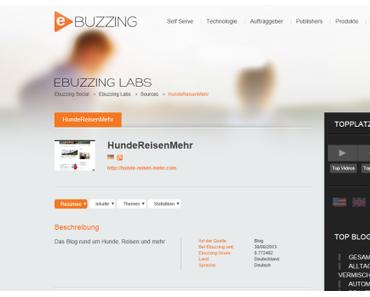 HundeReisenMehr unter den Top 10 Tierblogs bei eBuzzing