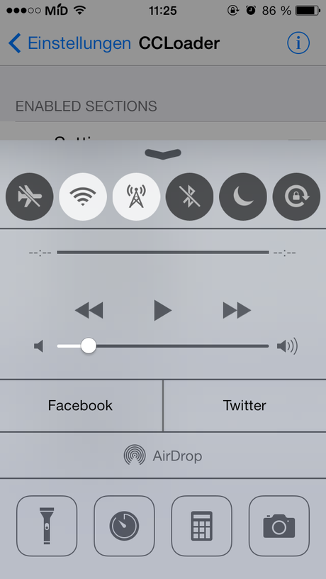 CCLoader und Share Widget for Control Center