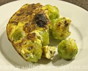 Rosenkohl-Marroni-Gratin mit knusprigen Haselnüssen und Rübli-Salat