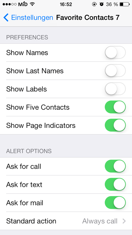 Favorite Contacts 7 for NotificationCenter IIII